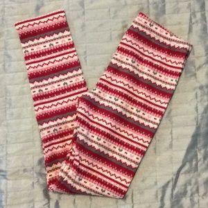 Gymboree leggings red pink white gray sz 7